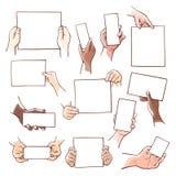 Menschliche Hände, die Blätter des leeren Papiers der unterschiedlichen Größe halten lizenzfreie abbildung