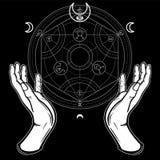 Menschliche Hände berühren einen alchemical Kreis Mystische Symbole, heilige Geometrie Stockbild