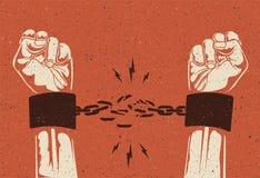 Menschliche Hände brechen die Kette Freiheitsfreigabekonzept Unterbrochene Kette Weinlese redete Vektorillustration an lizenzfreies stockfoto
