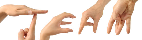 Menschliche Hände, die das Wort aufbauen Stockfotos