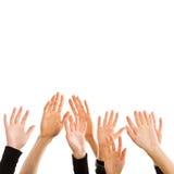 Menschliche Hände, die für den Himmel erreichen Lizenzfreie Stockfotos