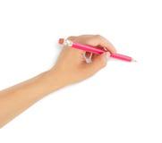 Menschliche Hände mit Bleistift Lizenzfreie Stockbilder