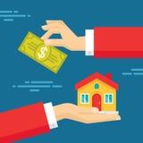 Menschliche Hände mit Dollar-Geld und Haus Flache Artkonzeptdesignillustration Stockbild