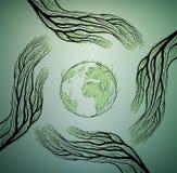 Menschliche Hände sehen wie Baumaste aus und kümmern sich um Erdnaturkonzept, schützen Baumidee, lizenzfreie abbildung
