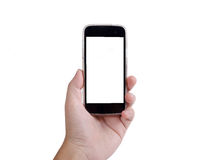 Menschliche Hand, die intelligentes Telefon auf weißem Hintergrund hält lizenzfreies stockfoto
