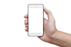 Menschliche Hand, die weißes Telefon auf dem weißen Schirm lokalisiert mit Cl hält Stockbilder