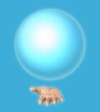 Menschliche Hand hält einen blauen Ball Stockfoto