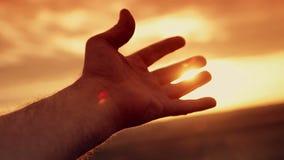 Menschliche Hand im Sonnenuntergang stock video