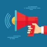 Menschliche Hand mit Lautsprecher - Geschäfts-Konzept-Illustration in der flachen Design-Art Lizenzfreies Stockbild