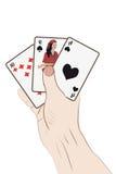 Menschliche Hand mit Spielkarten Lizenzfreie Stockfotos