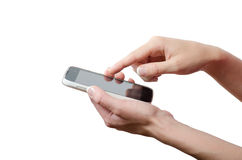 Menschliche Handrührender intelligenter Telefonschirm lokalisiert auf weißem Hintergrund Lizenzfreie Stockfotografie