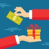 Menschliche Hände mit Dollar-Geld und anwesendem Geschenk Flache Artkonzeptdesignillustration Lizenzfreies Stockfoto