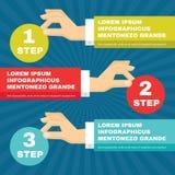 Menschliche Hände mit runden Blöcken Infographic - Vector Konzeptillustration im flachen Artdesign Lizenzfreies Stockbild