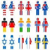 Menschliche Ikone der unterschiedlichen Nation Stockbild