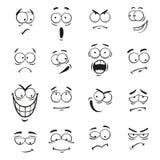 Menschliche Karikatur Emoticongesichter mit Ausdrücken Stockfoto