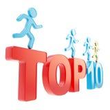 Menschliche laufende Symbolfiguren über dem Wörter Top Ten Stockfotografie