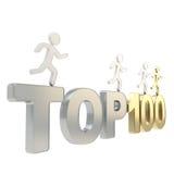 Menschliche laufende Symbolfiguren über den Wörtern übersteigen hundert Lizenzfreies Stockfoto