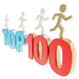 Menschliche laufende Symbolfiguren über den Wörtern übersteigen hundert Stockfotografie