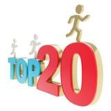 Menschliche laufende Symbolfiguren über den Wörtern übersteigen zwanzig Stockfoto
