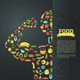 Menschliche Lebensmittelikone im infographic Hintergrundplandesign, schaffen Stockbild