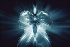 Menschliche männliche, weibliche helle Körper, Universum-Inspirations-Aufklärungs-Einheitsbewusstsein, Yin Yang, Doppelflammen stock abbildung