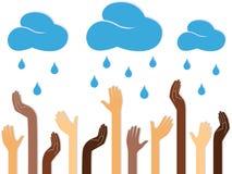 Menschliche Mehrfarbenhände und regnende Wolken Lizenzfreies Stockfoto
