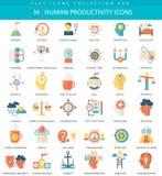 Menschliche Produktivitätsfarbflacher Ikonensatz des Vektors Produktivitäts-Netzikone des Designs der eleganten Art menschliche vektor abbildung