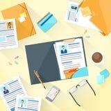 Menschliche Ressourcen-Arbeitsplatz-Schreibtisch-Dokumente vektor abbildung