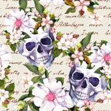 Menschliche Schädel, Blumen für Dia de Muertos-Feiertag Nahtloses Muster mit Handschriftlichem Text watercolor stock abbildung