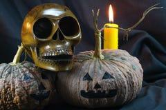 Menschliche Schädel und Kürbis auf schwarzem Hintergrund, Halloween-Tageshintergrund Stockfoto