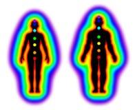 Menschlicher Energiekörper - Aura und chakras auf weißem Hintergrund - Illustration lizenzfreie abbildung