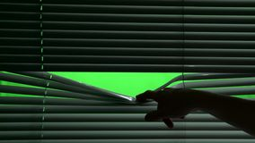 Menschlicher Finger wirft Teil des Jalousie nieder Grüner Bildschirm stock footage