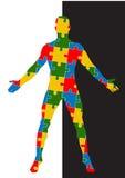 Menschlicher Körper des Puzzlespiels Mannschattenbild Stockbilder