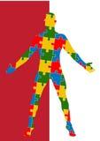 Menschlicher Körper des Puzzlespiels Mannschattenbild Stockfotografie