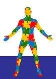 Menschlicher Körper des Puzzlespiels Mannschattenbild Stockfoto