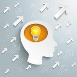 Menschlicher Kopf Brain Arrows Bulb Success stock abbildung
