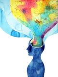 Menschlicher Kopf, chakra Energie, abstrakter denkender Gedanke der Inspiration lizenzfreie abbildung