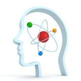 Menschlicher Kopf des Atommolekülwissenschaftssymbolgehirns Lizenzfreie Stockbilder