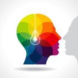 Menschlicher Kopf, eine neue Idee denkend stock abbildung