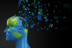 Menschlicher Kopf-geformte Erde Lizenzfreies Stockfoto