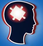 Menschlicher Kopf. Konzept einer neuen Idee, Puzzleteil Stockbild