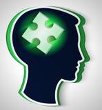 Menschlicher Kopf. Konzept einer neuen Idee, Stück der PUs Lizenzfreies Stockfoto