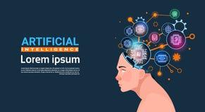 Menschlicher Kopf mit Cyber-Brain Cog Wheel And Gears-Konzept der künstliche Intelligenz-Fahne mit Kopien-Raum stock abbildung