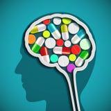 Menschlicher Kopf mit dem Gehirn und den Pillen vektor abbildung
