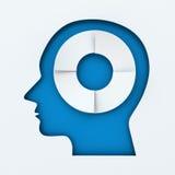 Menschlicher Kopf mit dem infographic Kreis von vier Schritten Stockfotografie