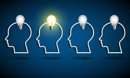 Menschlicher Kopf mit Glühlampe Denken Sie Ideenkonzept Lizenzfreies Stockbild