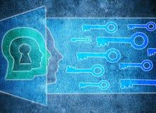Menschlicher Kopf mit Schlüsselloch und digitaler Illustration des Schlüsselpsychologiekonzeptes Lizenzfreie Stockfotos