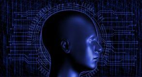 Menschlicher Kopf und dunkler, High-Techer Hintergrund stockbilder