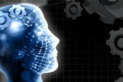 Menschlicher Kopf und Technologiehintergrund Lizenzfreie Stockbilder