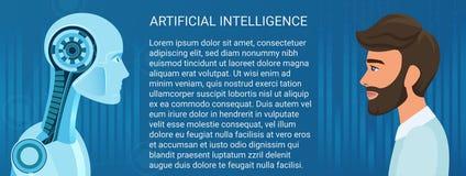 Menschlicher Mann gegen Roboteropposition Geschäfts- und Zukunftjobvektor-Konzeptillustration vektor abbildung